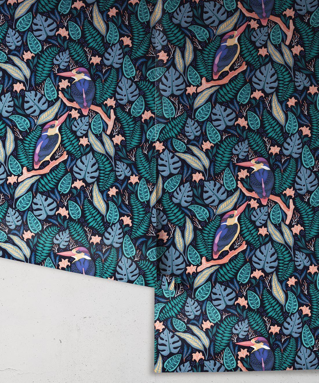 Kingfisher Wallpaper • Bird Wallpaper • Dark Color Wallpaper Rolls
