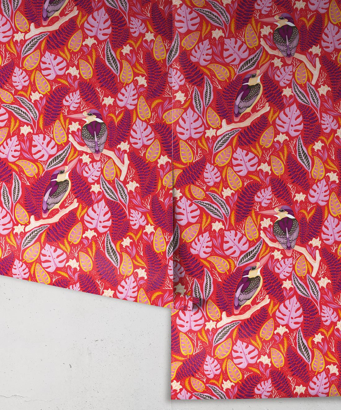 Kingfisher Wallpaper • Bird Wallpaper • Red Wallpaper Rolls