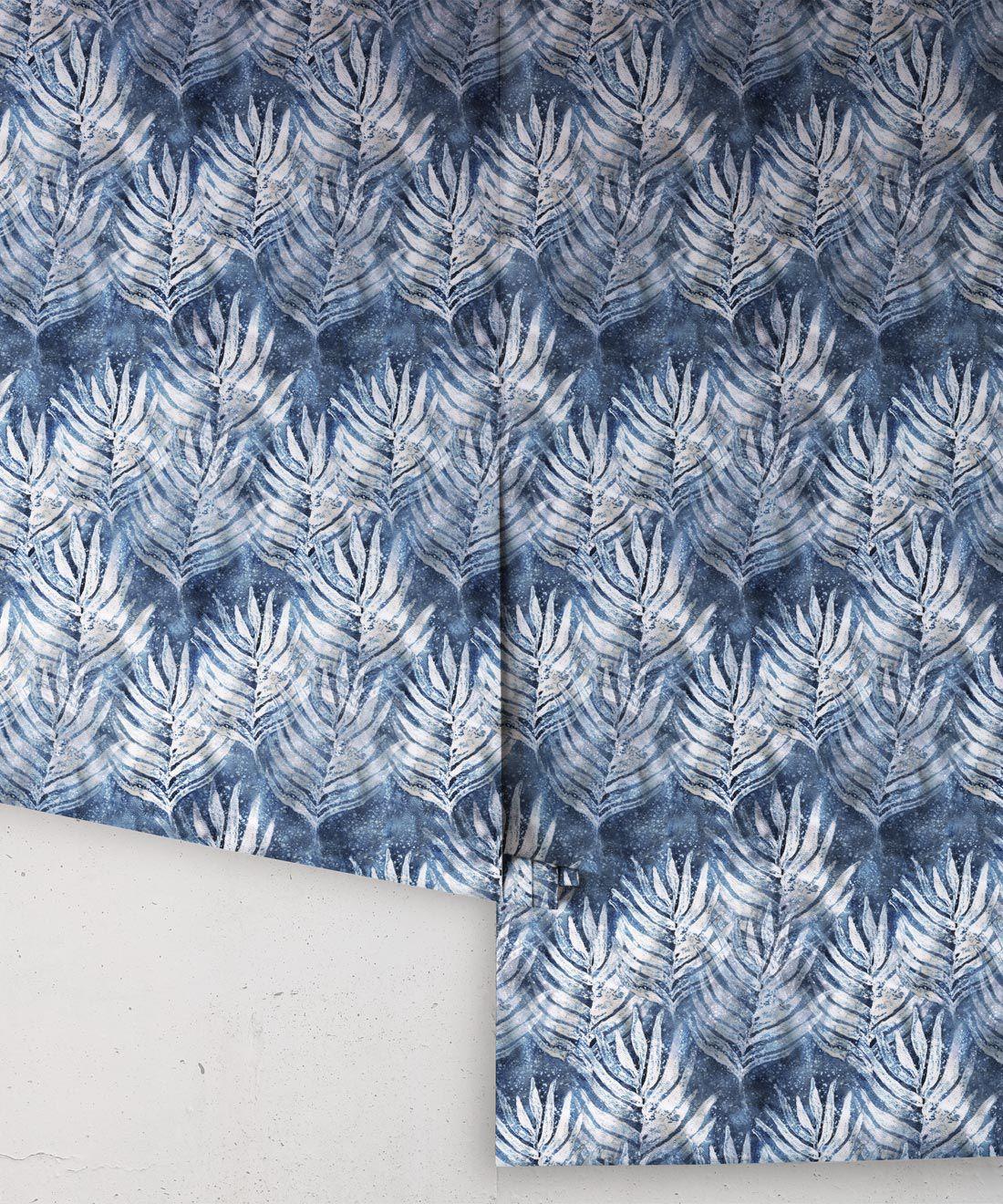 Blue Indigo Shibori Leaf Wallpaper