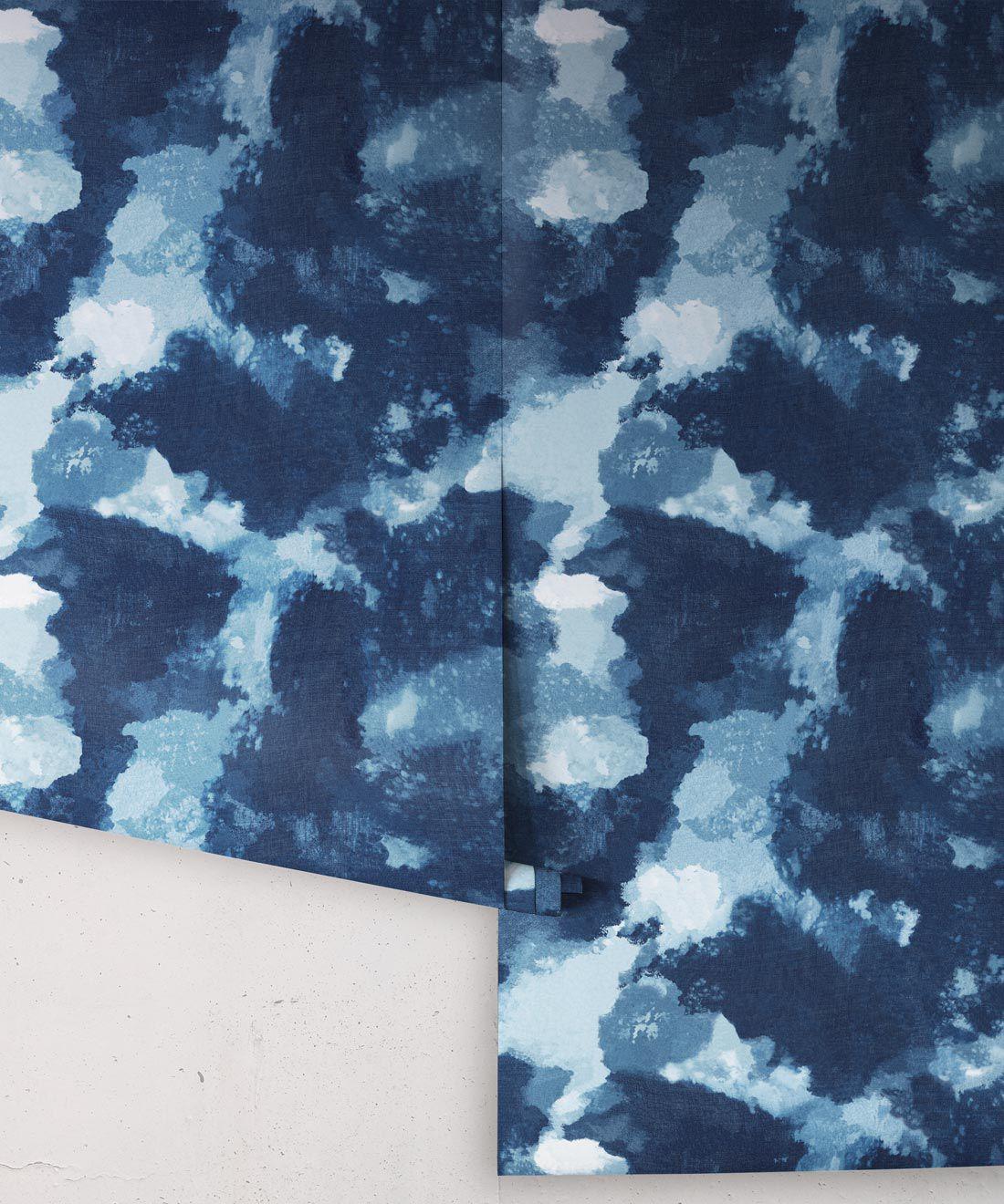 Autumn Path Wallpaper Indigo Blue • Shibori Abstract •Wallpaper Rolls