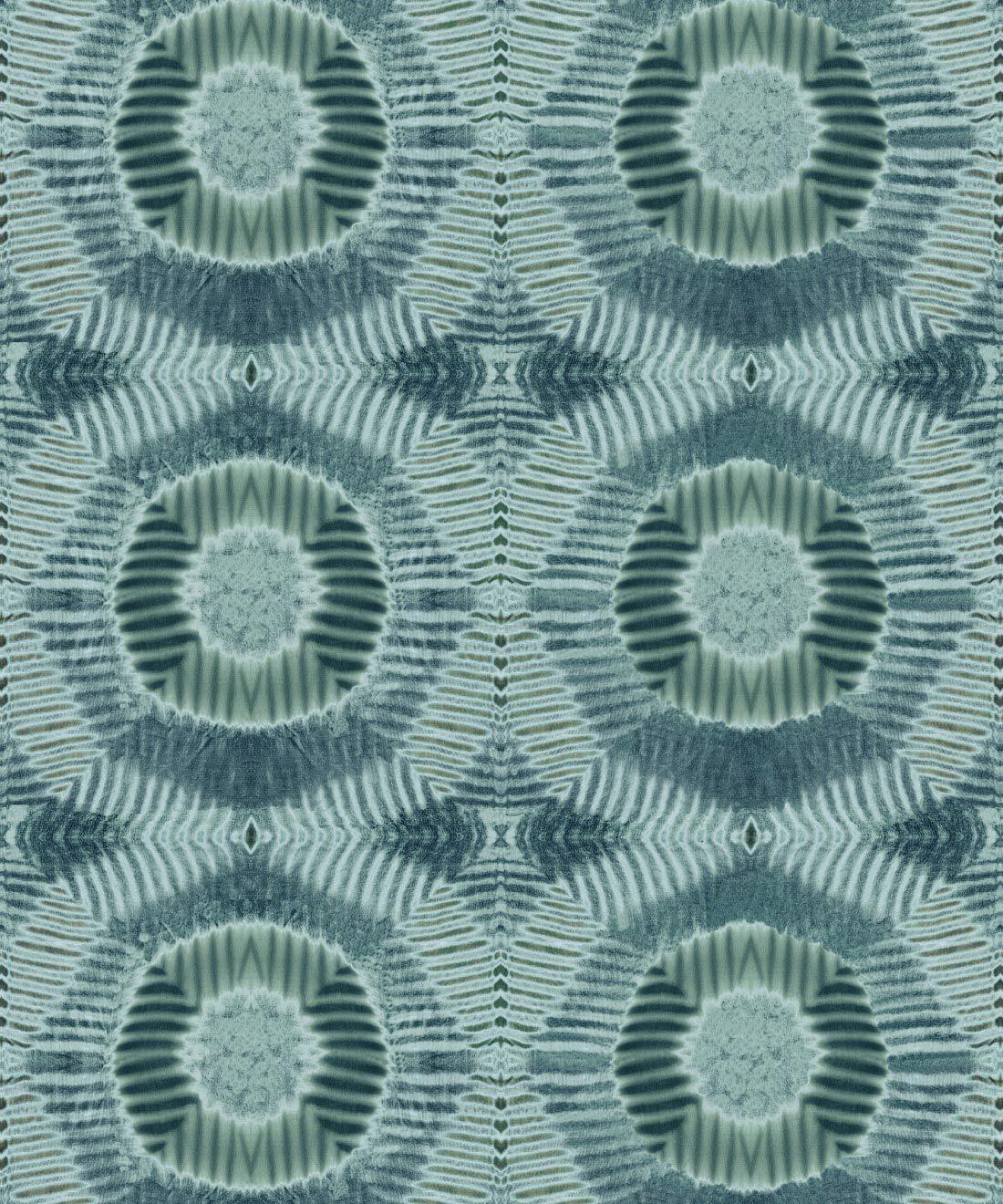Aztec Suns Wallpaper Sage • Shibori Geometric • Swatch