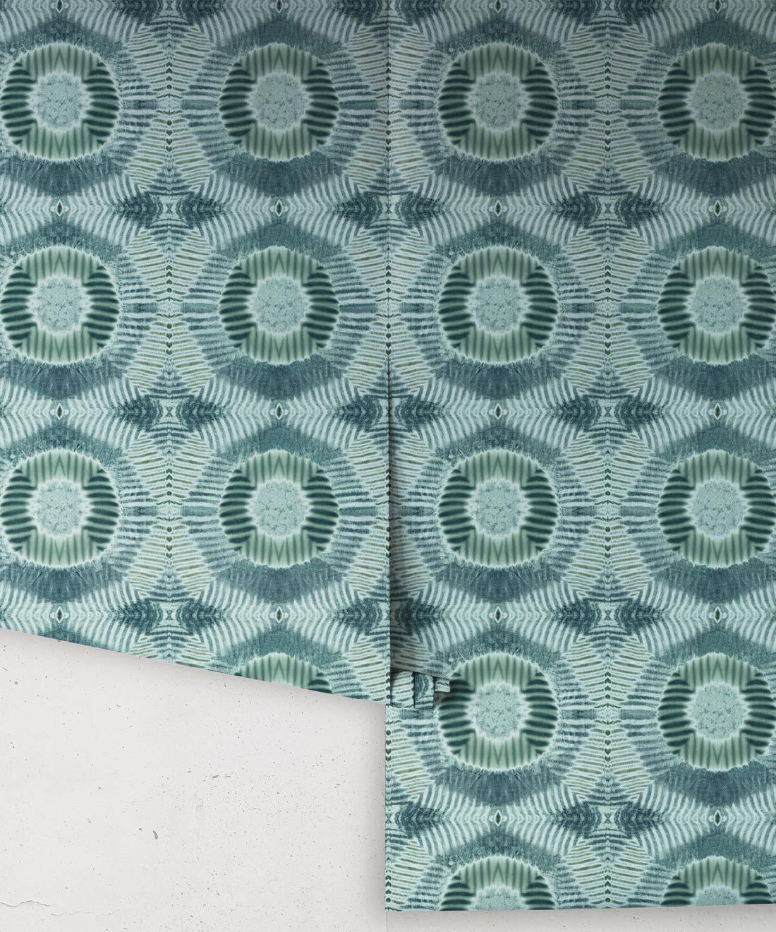 Aztec Suns Wallpaper Sage • Shibori Geometric • Rolls