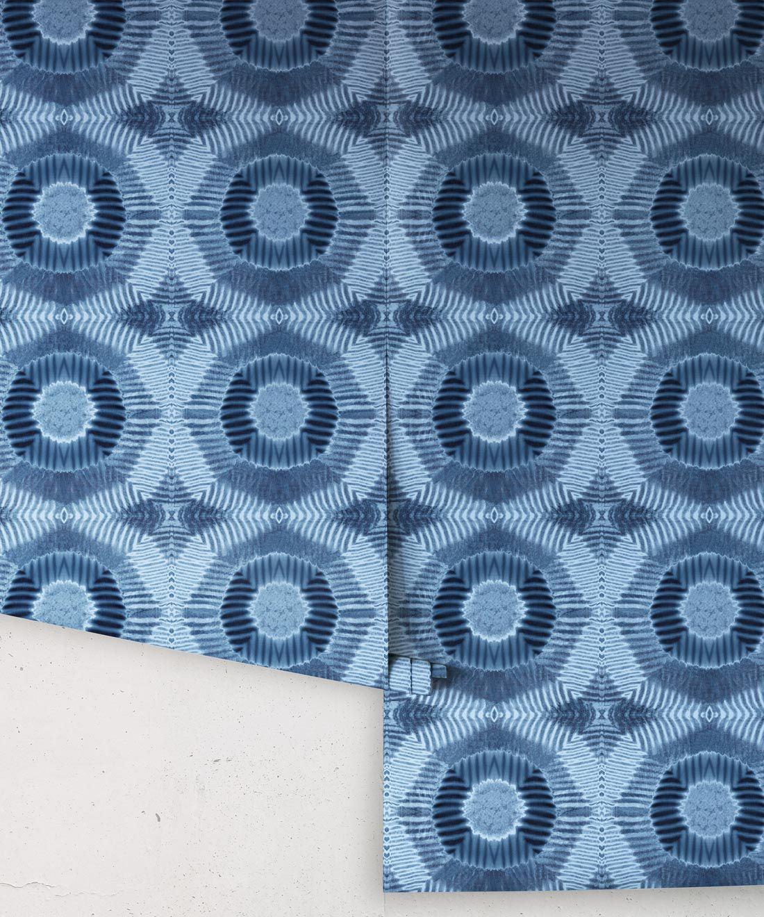 Aztec Suns Wallpaper Indigo Blue • Shibori Geometric • Rolls