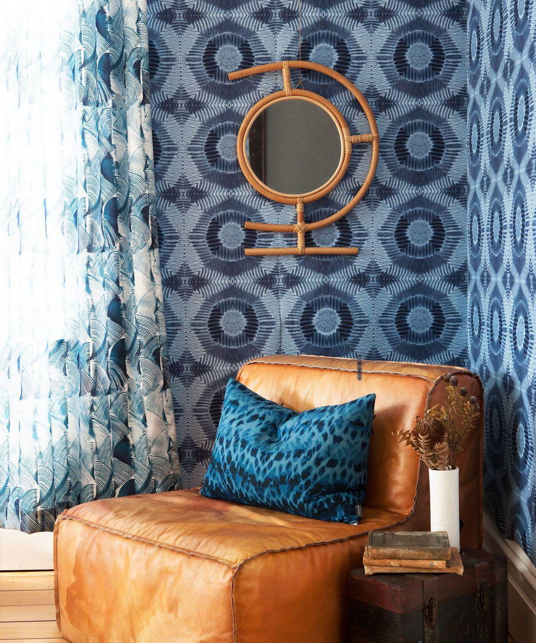 Aztec Suns Wallpaper Indigo Blue • Shibori Geometric • Insitu