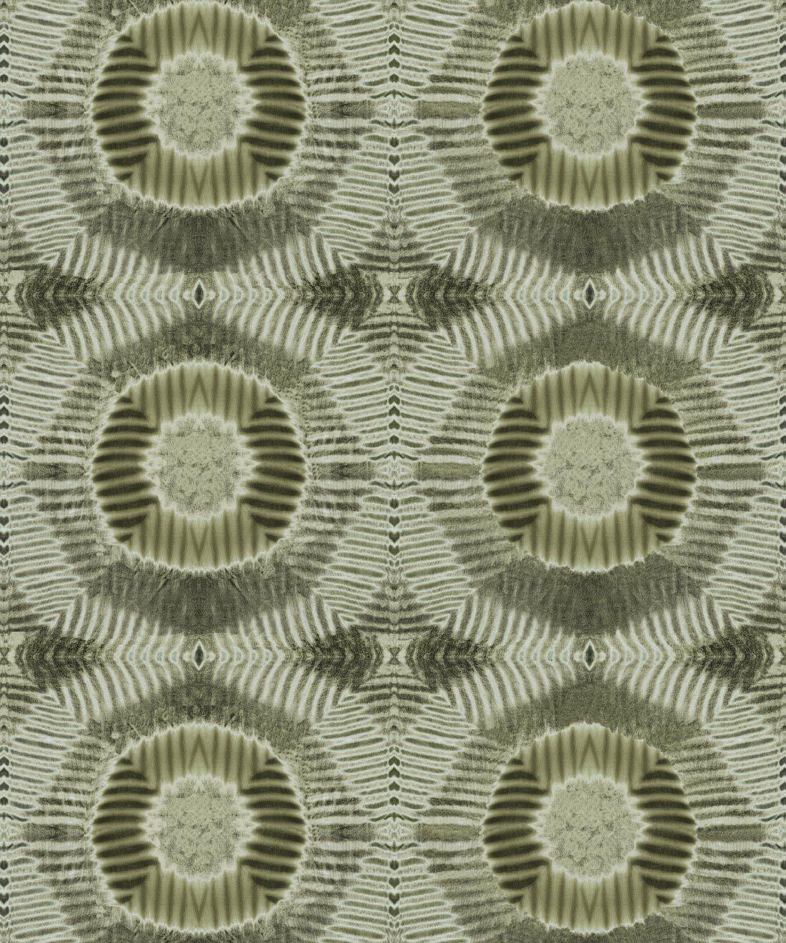 Aztec Suns Wallpaper Olive • Shibori Geometric • Swatch