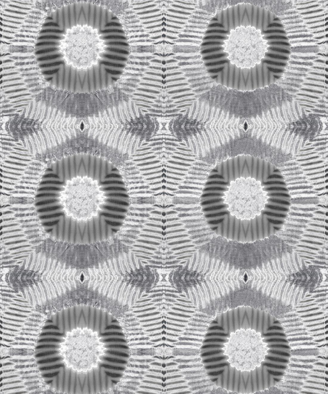 Aztec Suns Wallpaper Gray • Shibori Geometric • Swatch