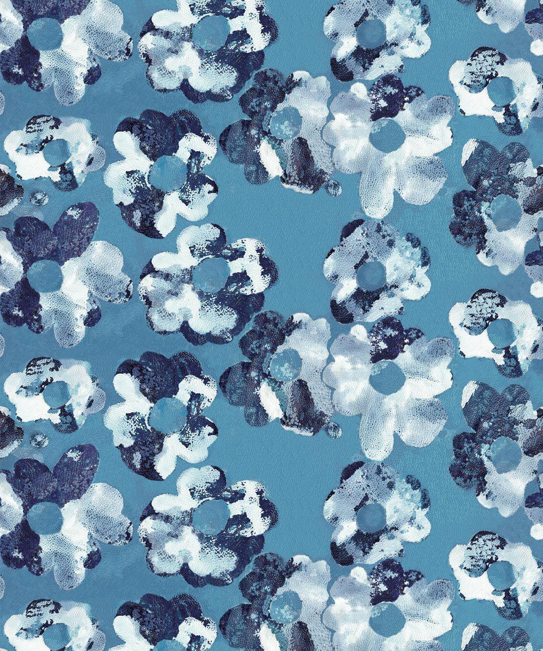 Cherry Blossom Wallpaper Indigo Blue • Shibori Floral • Swatch