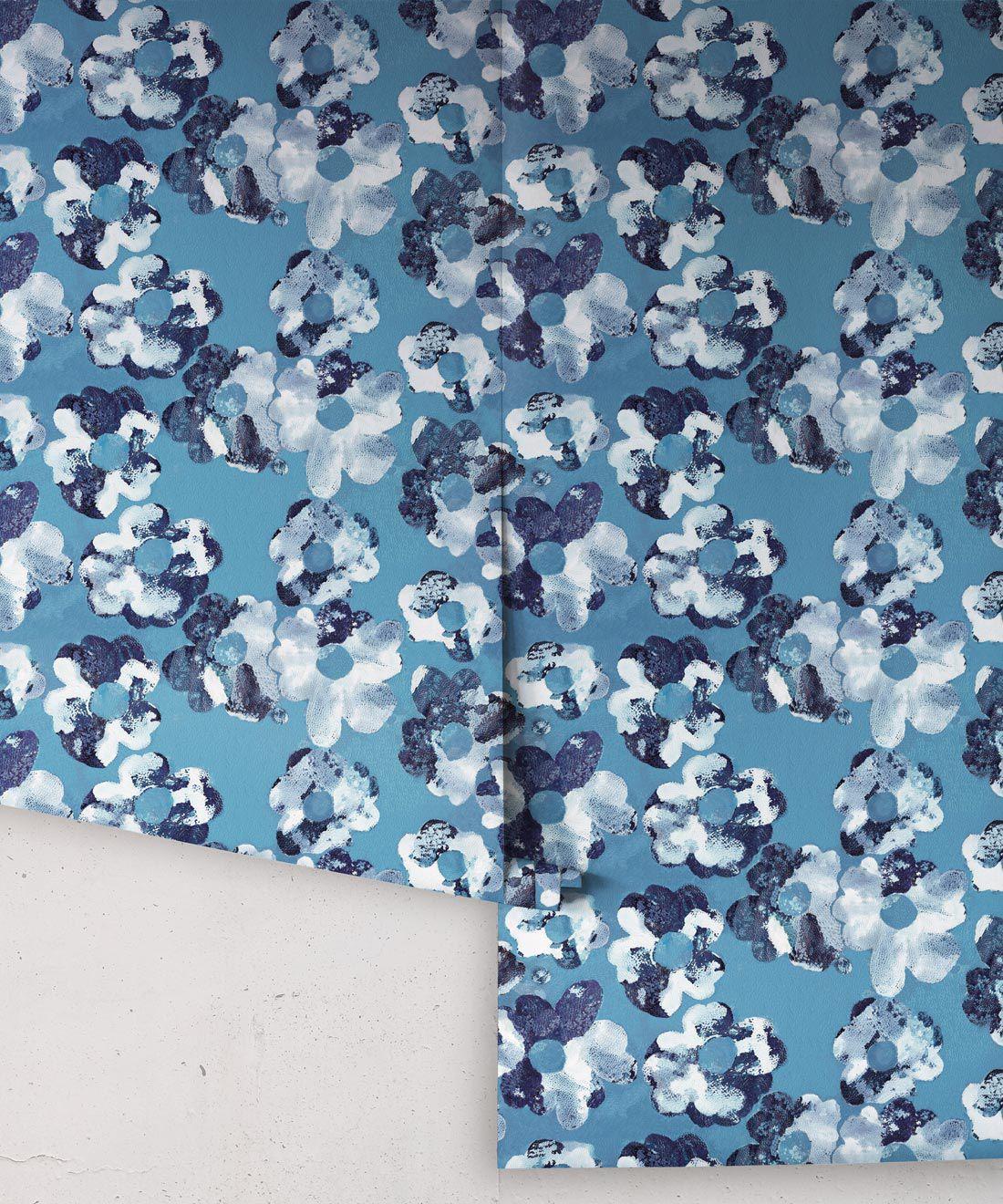 Cherry Blossom Wallpaper Indigo Blue • Shibori Floral • Rolls