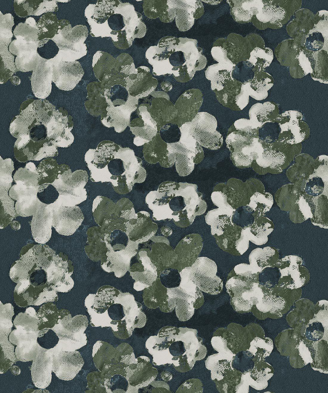 Cherry Blossom Wallpaper Night • Shibori Floral • Night Swatch