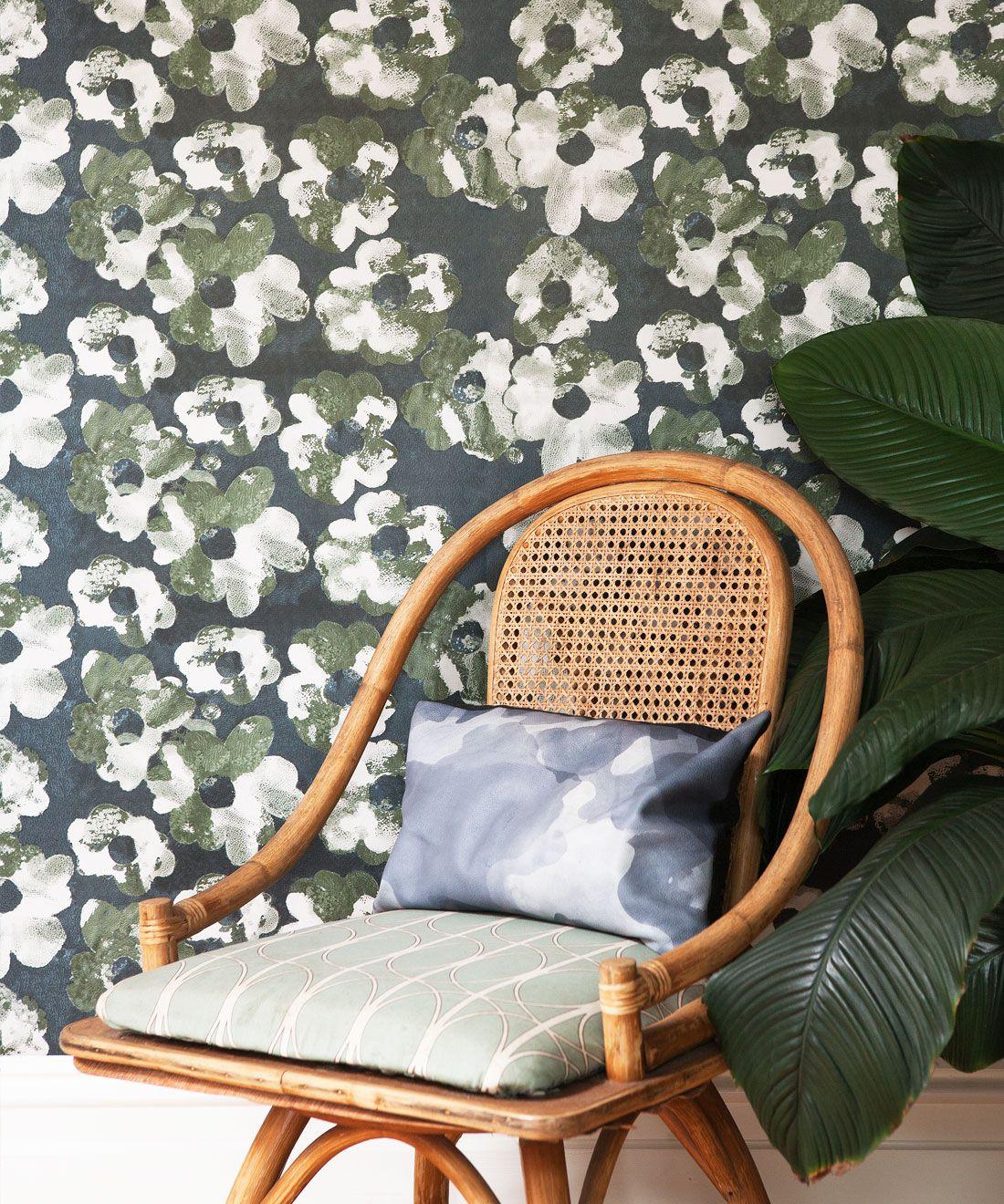 Cherry Blossom Wallpaper Night • Shibori Floral • Insitu Night
