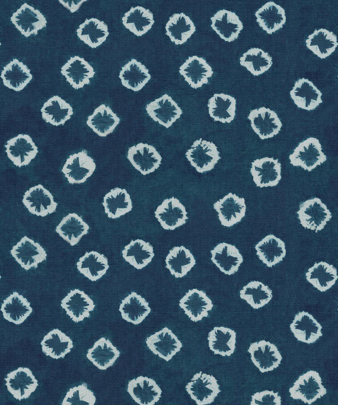 Indigo Blue Kanoko Wallpaper • Shibori