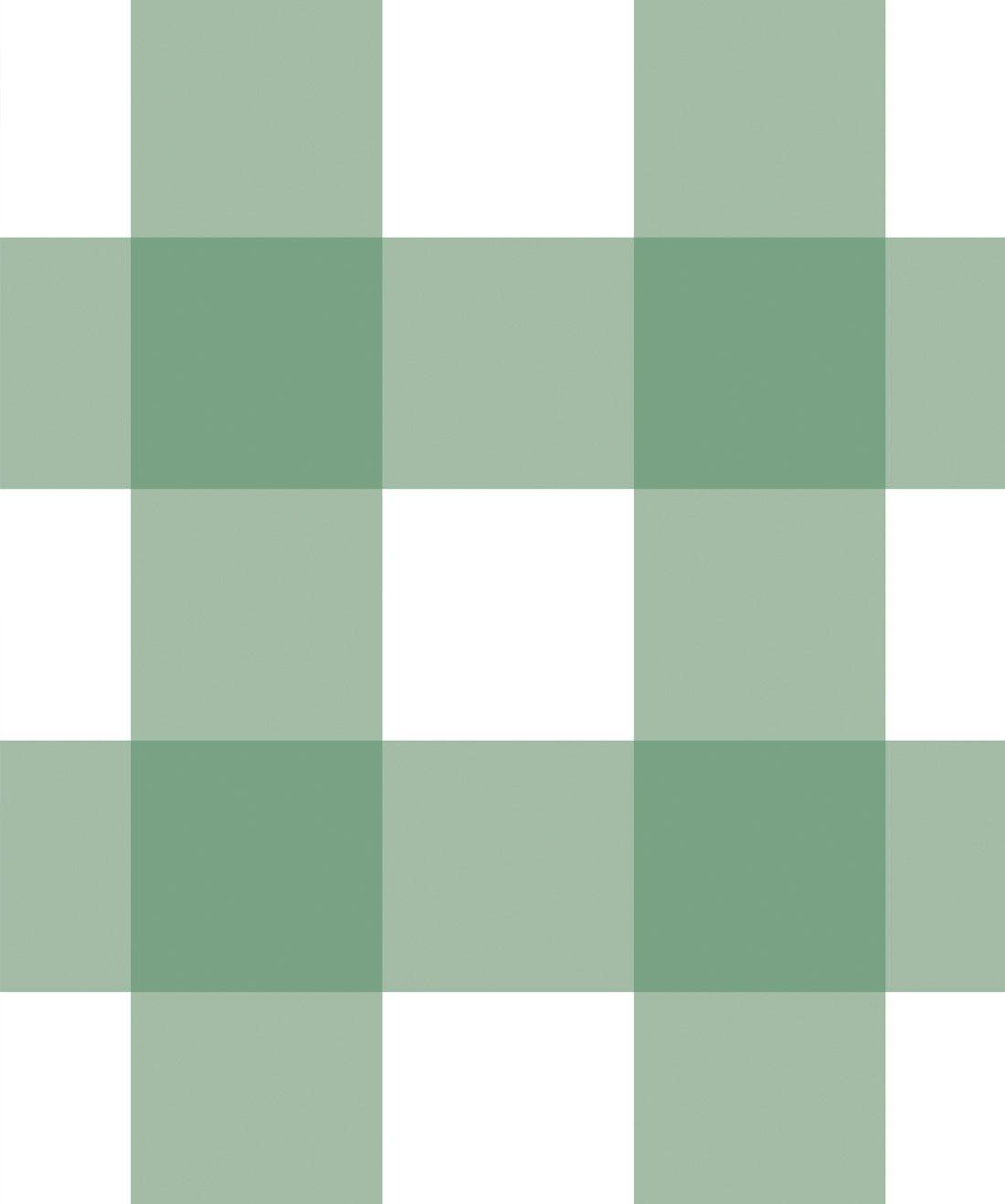 Mel's Buffalo Check Wallpaper • Green Plaid Wallpaper Swatch