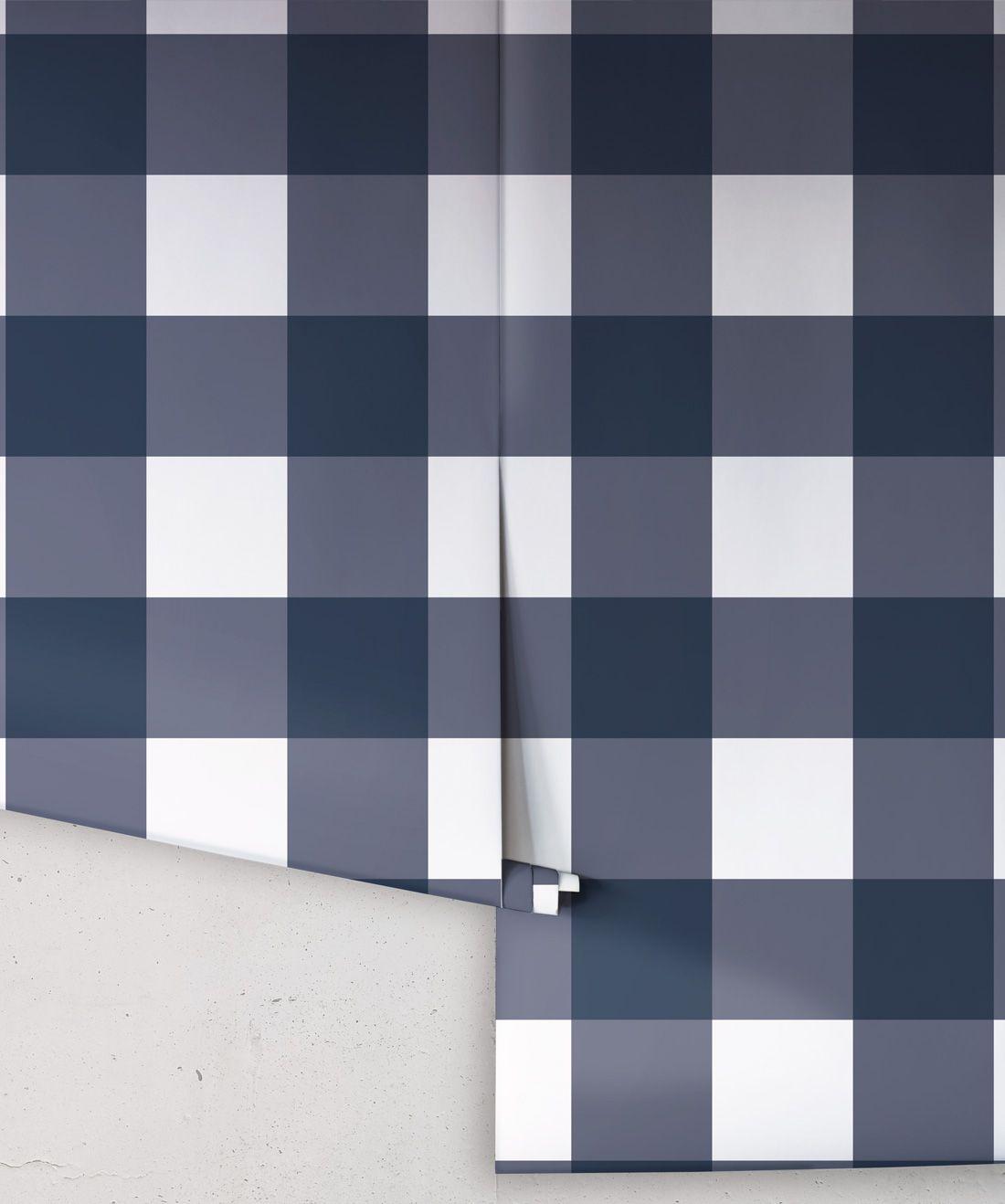 Mel's Buffalo Check Wallpaper • Navy Blue Plaid Wallpaper Rolls