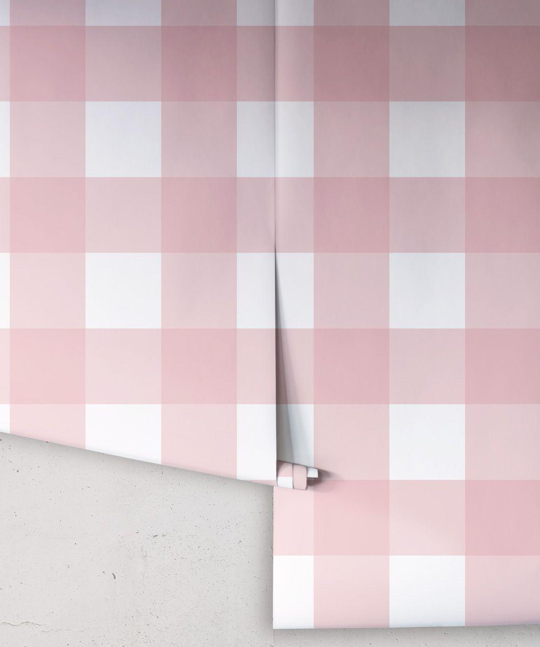 Mel's Buffalo Check Wallpaper • Pink Plaid Wallpaper Rolls