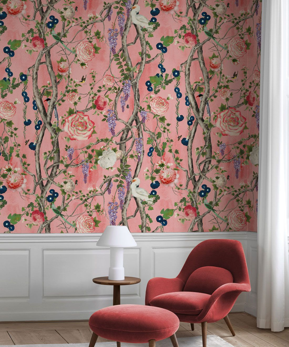 Empress Wallpaper • Romantic Wallpaper • Floral Wallpaper • Chinoiserie Wallpaper • Coral colour wallpaper insitu