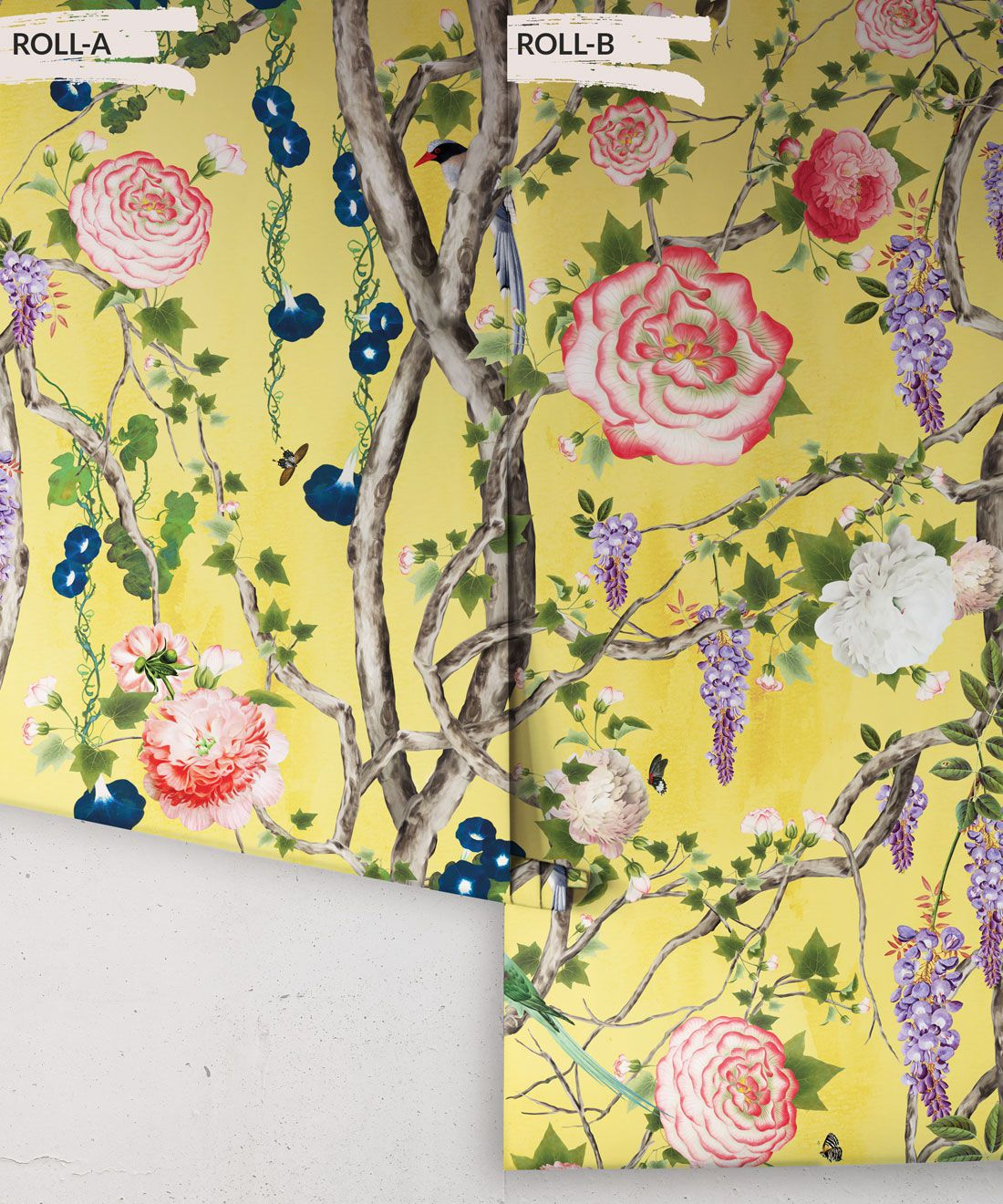 Empress Wallpaper • Romantic Wallpaper • Floral Wallpaper • Chinoiserie Wallpaper • Honey Yellow colour wallpaper rolls