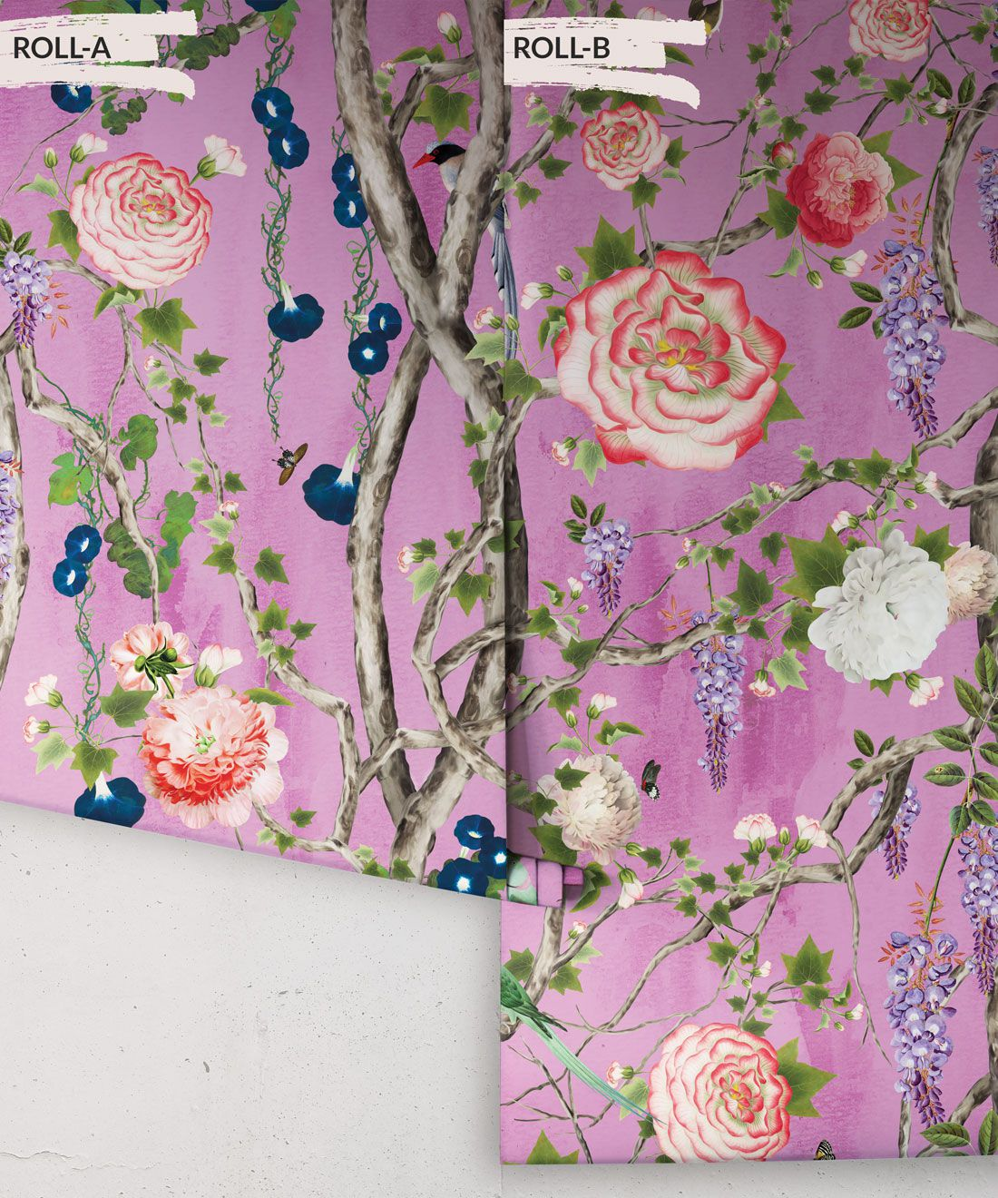 Empress Wallpaper • Romantic Wallpaper • Floral Wallpaper • Chinoiserie Wallpaper • Plum Purple colour wallpaper rolls