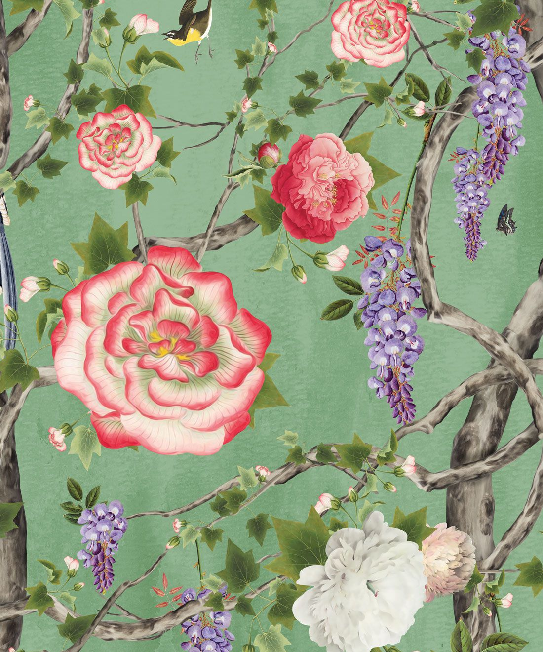 Empress Wallpaper • Romantic Wallpaper • Floral Wallpaper • Chinoiserie Wallpaper • Tea Garden Green colour wallpaper swatch
