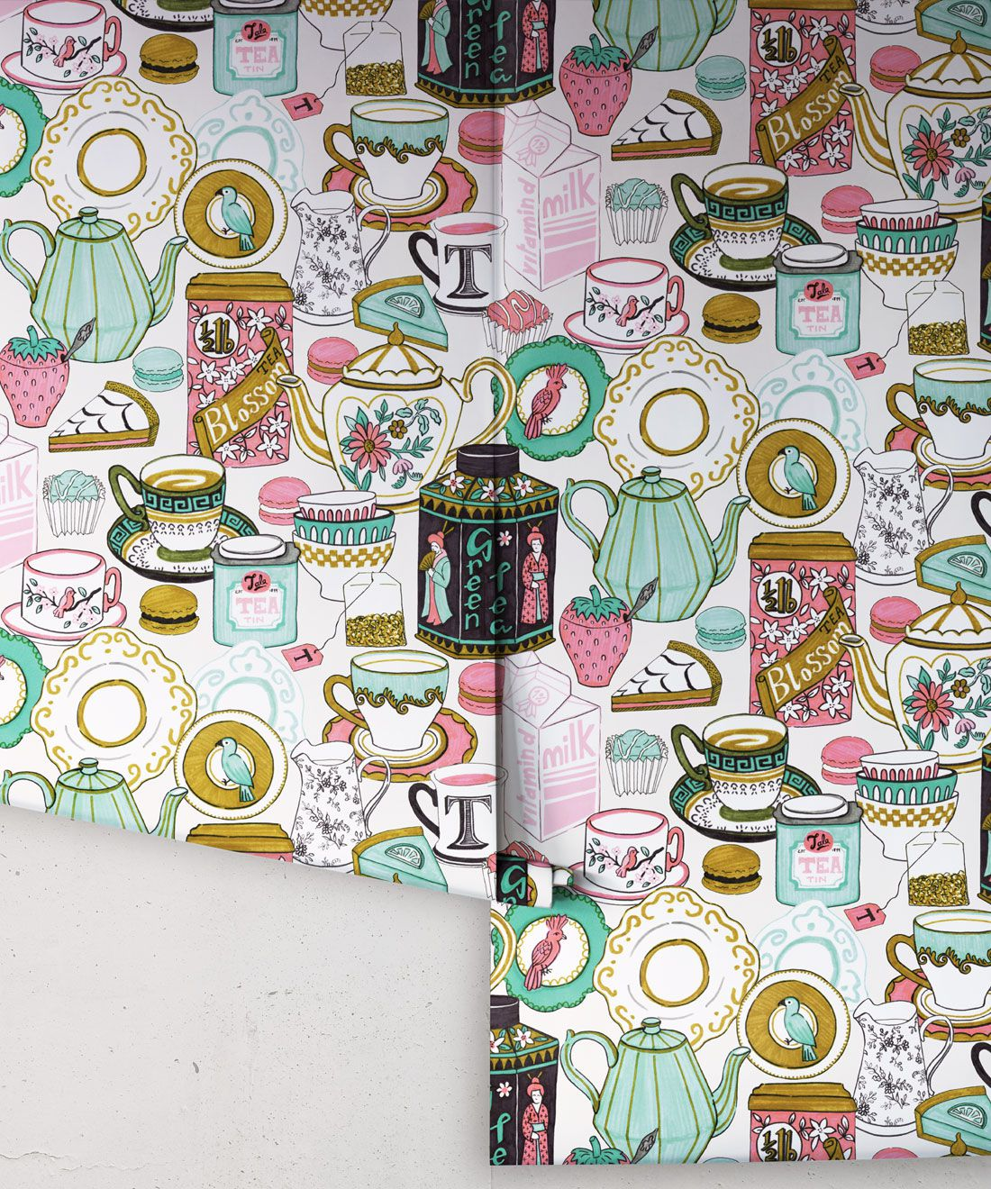 Tea Time Wallpaper • tea cups, tea pots, macaroons • milk and cream rolls