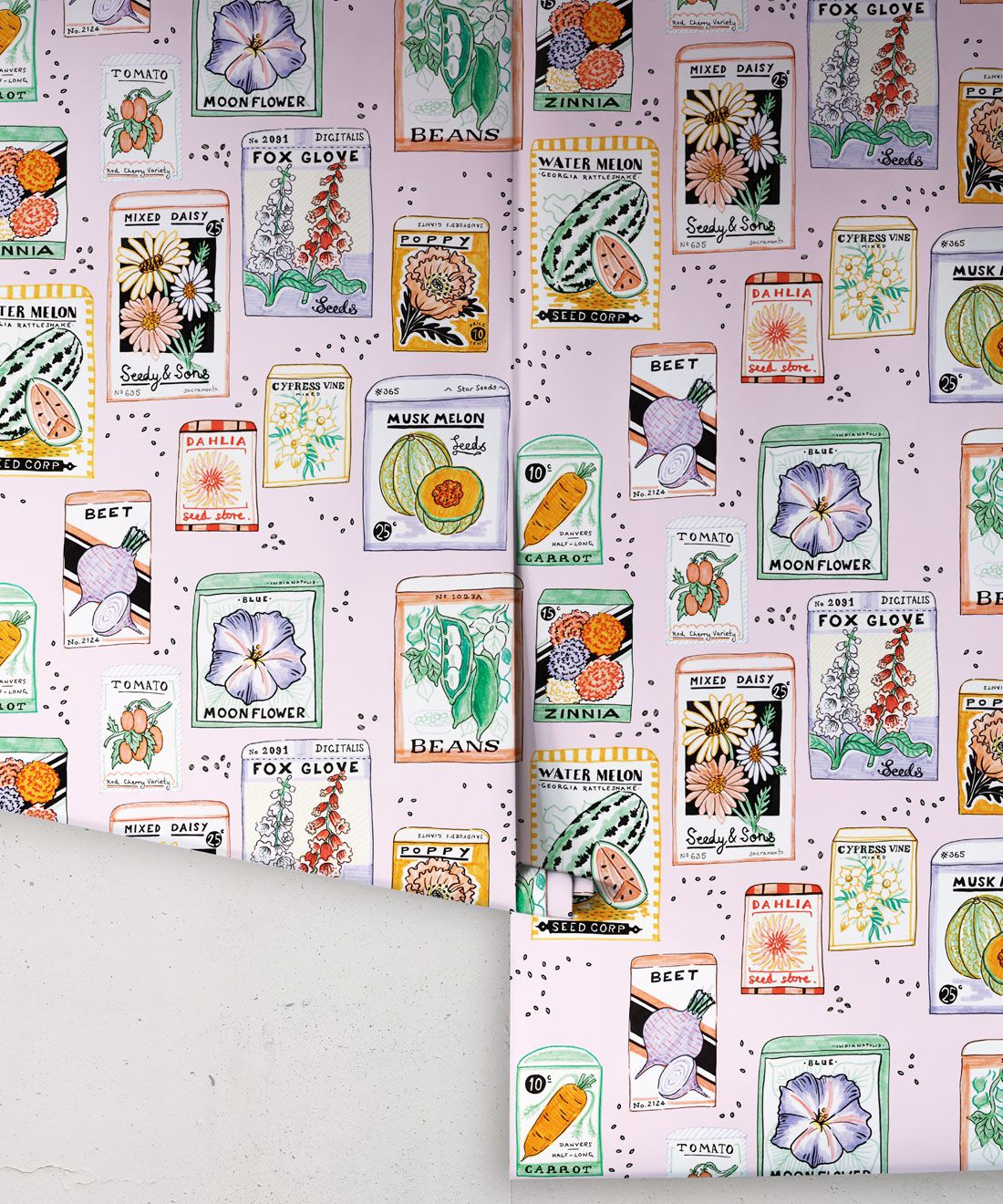 Seed Packets Wallpaper featuring watermelon, carrot, beet, beans, poppy, daisy rolls