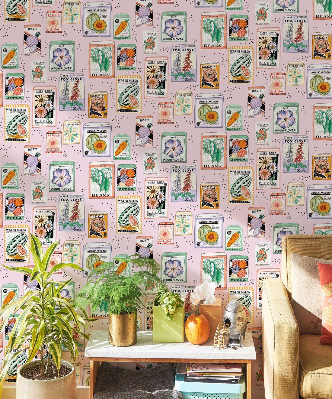 Seed Packets Wallpaper featuring watermelon, carrot, beet, beans, poppy, daisy insitu