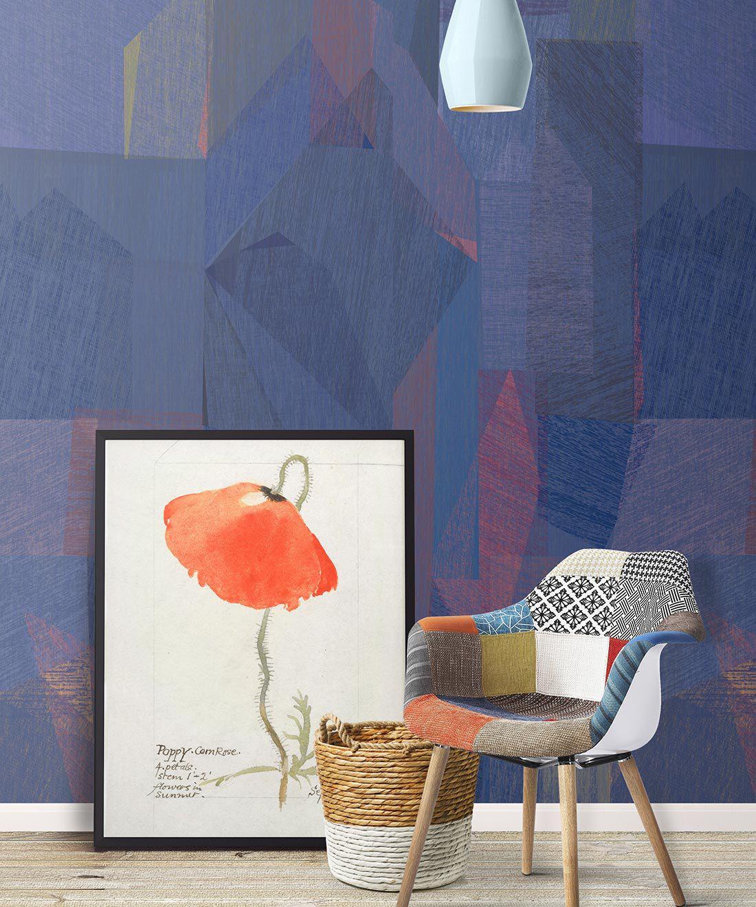 Chimera Wallpaper by Simcox • Color Cobalt • Abstract Wallpaper • Purple Wallpaper • insitu