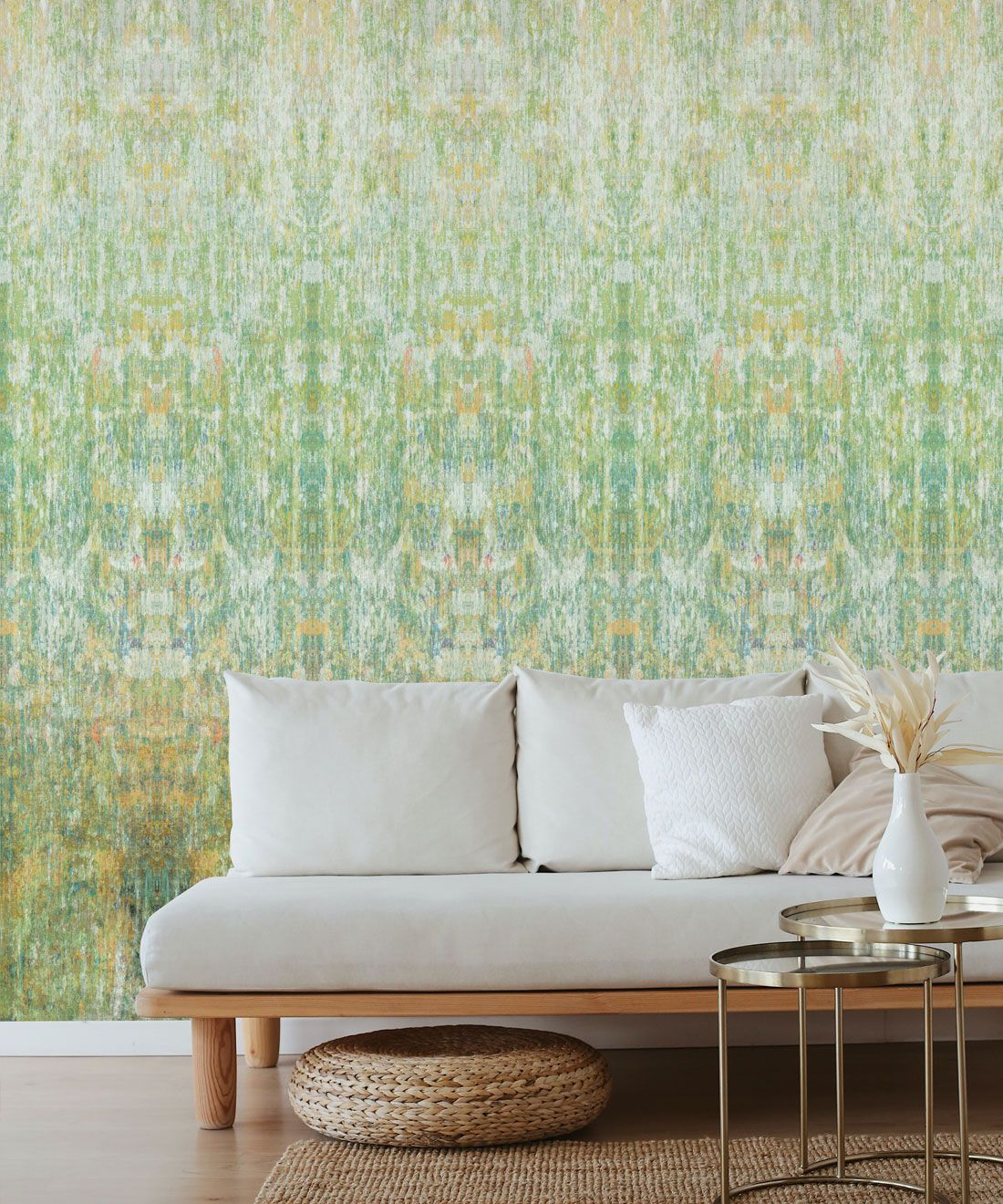 Patina Wallpaper by Simcox • Color Moss • Abstract Wallpaper • insitu