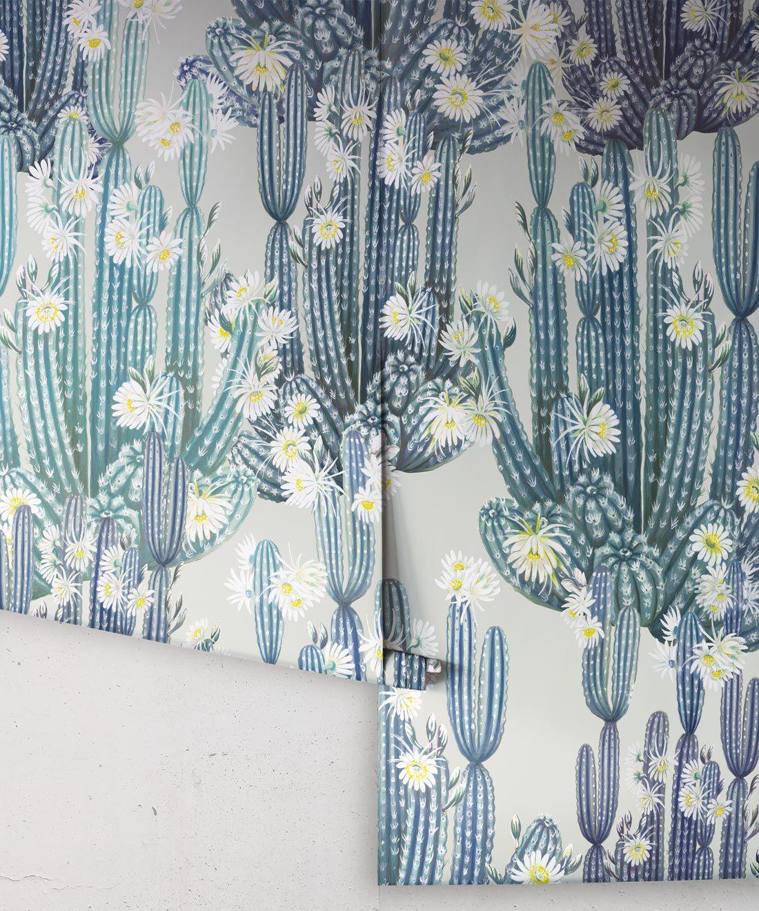 San Pedro Wallpaper Blue • Cactus Wallpaper • Succulents Wallpaper • Desert Wallpaper Rolls