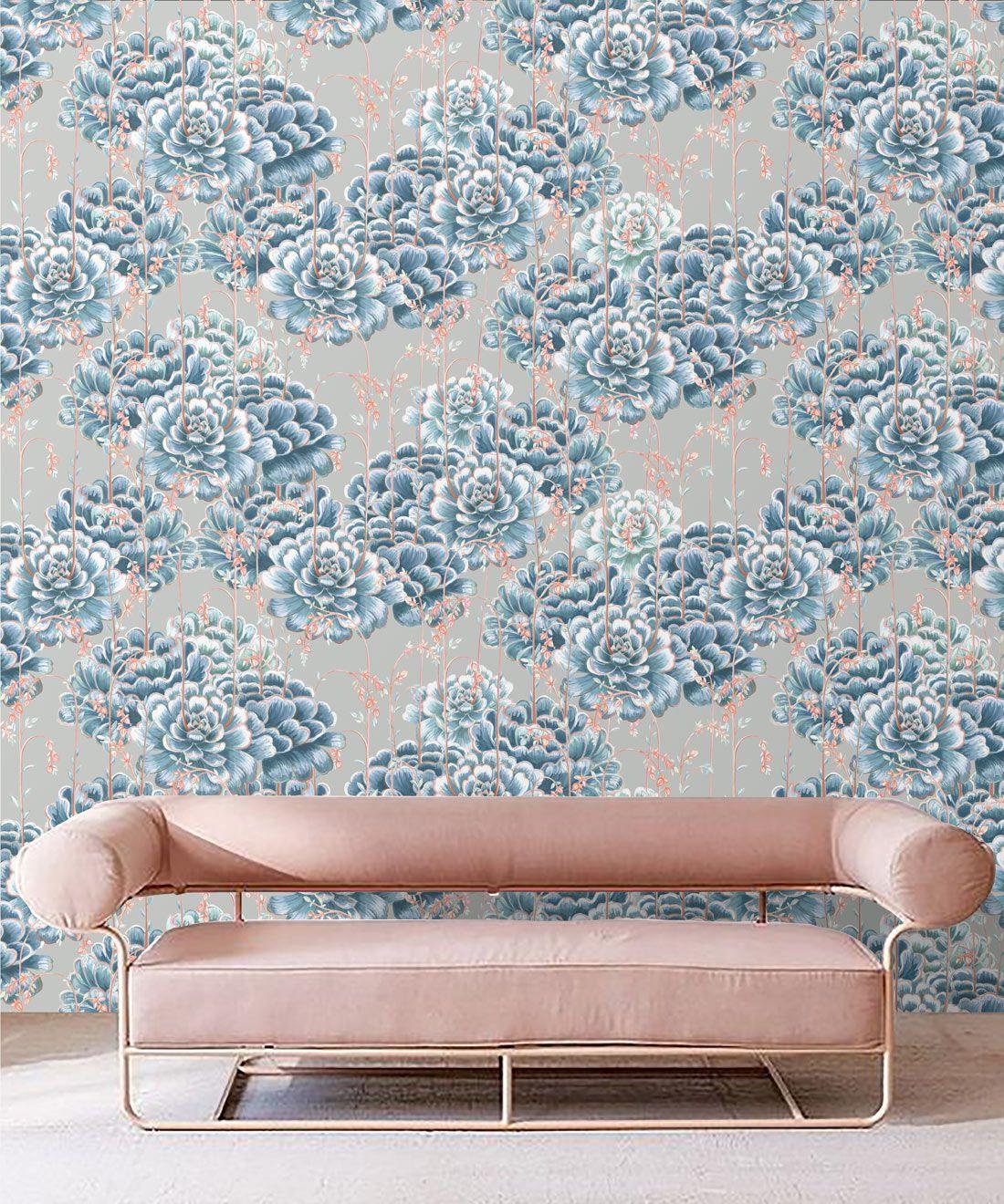Succulents Wallpaper Steel Blue • Cactus Wallpaper • Desert Wallpaper Insitu on grey background behind pink sofa