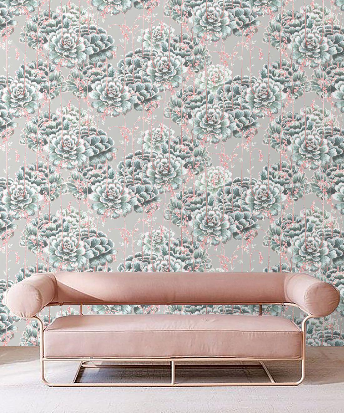 Succulents Wallpaper Sage • Cactus Wallpaper • Desert Wallpaper insitu on grey background behind pink sofa