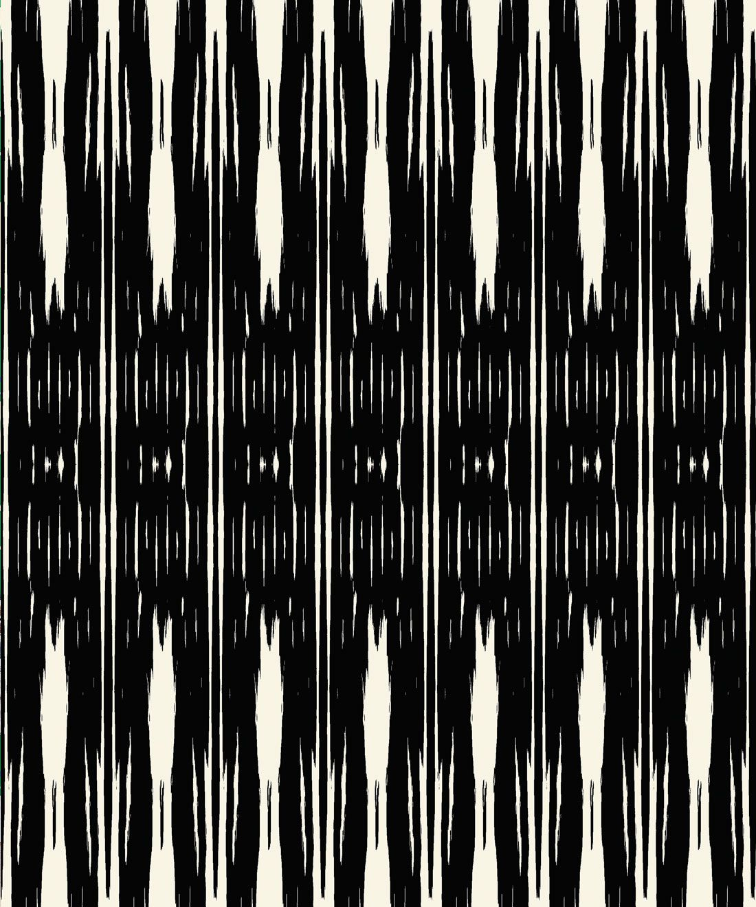 Ikat Wallpaper • Black & White Wallpaper • Kitty McCall • Swatch