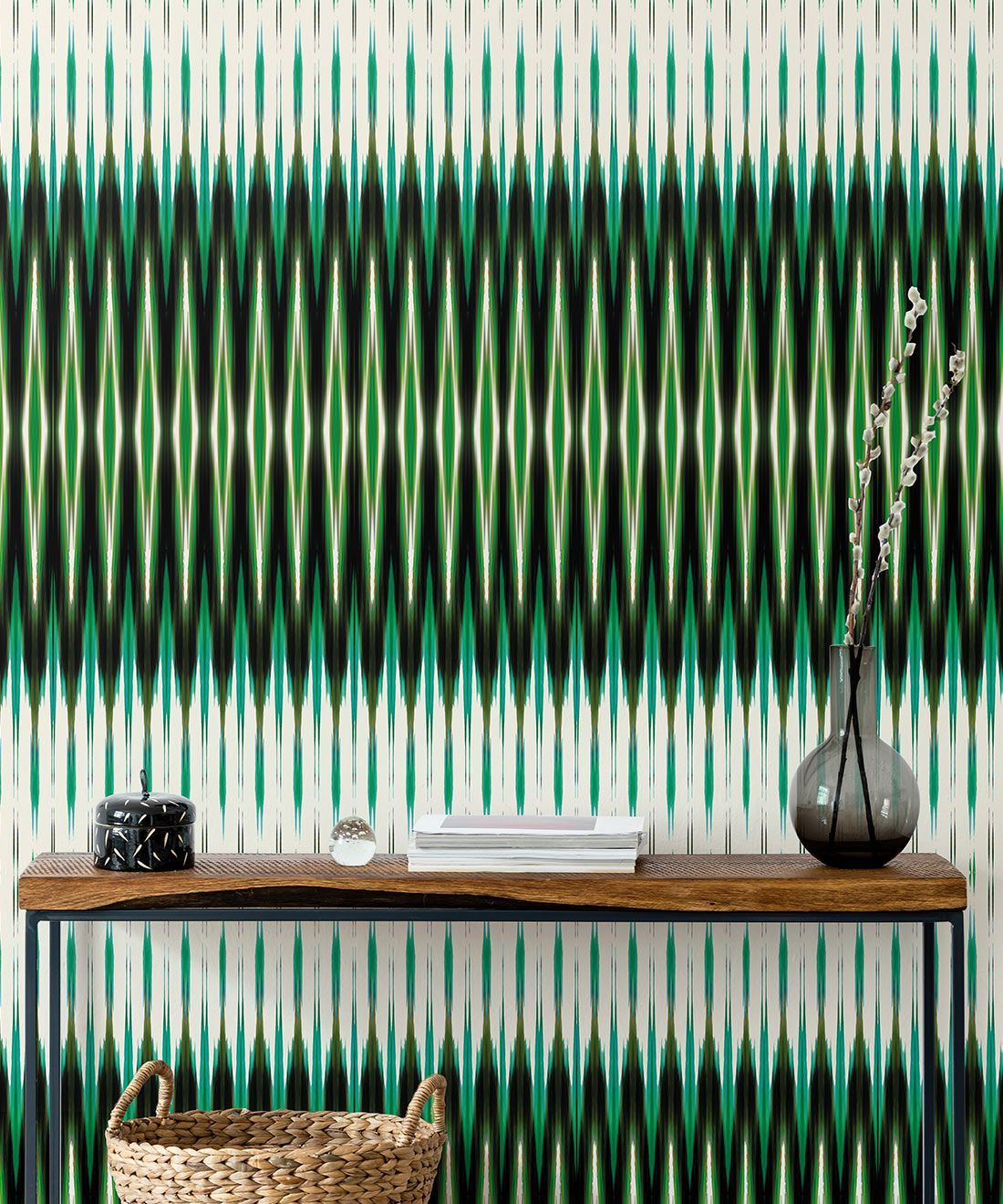 Ikat Wallpaper • Green Wallpaper • Kitty McCall • Insitu