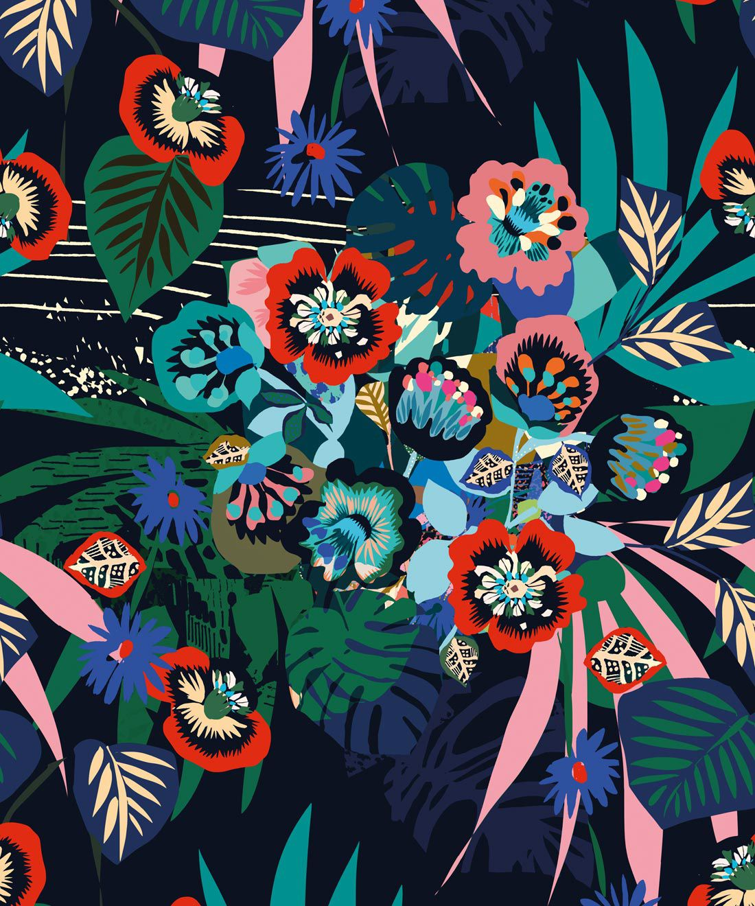 Kyoto Wallpaper • Kimono Wallpaper • Japanese Wallpaper • Deep Colourful Wallpaper • Swatch