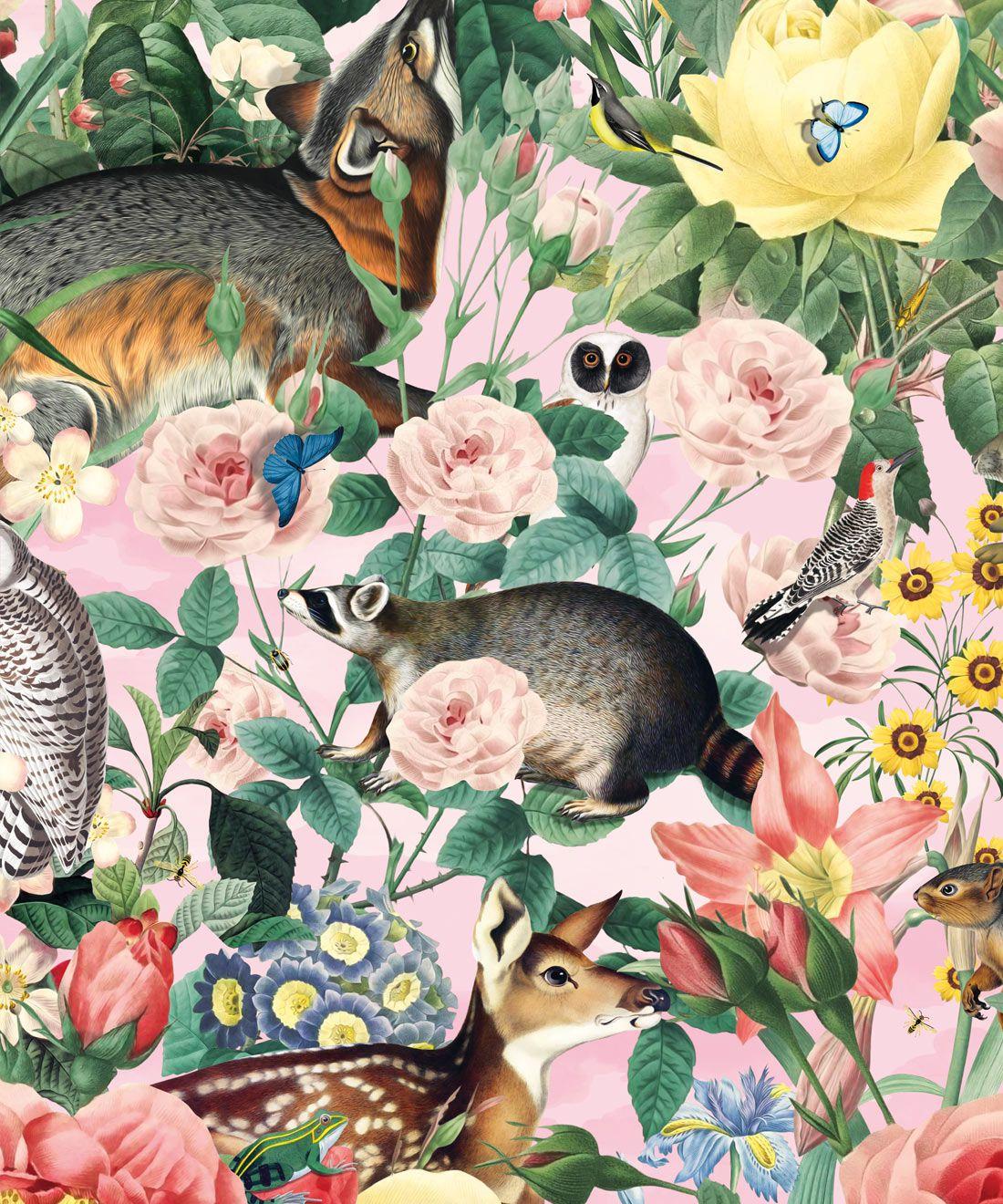 Bush Bouquet Spring Wallpaper • Coral Colored Wallpaper • Assorted Color and Multi-color wallpaper • Floral Wallpaper • Wallpaper With Forest Animals • Swatch