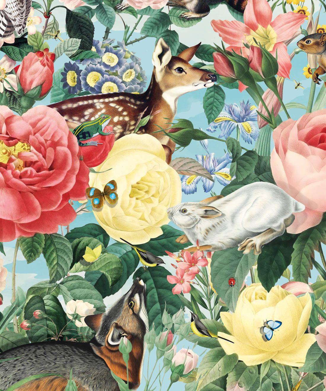 Bush Bouquet Spring Wallpaper • Blue Sky Colored Wallpaper • Assorted Color and Multi-color wallpaper • Floral Wallpaper • Wallpaper With Forest Animals • Swatch