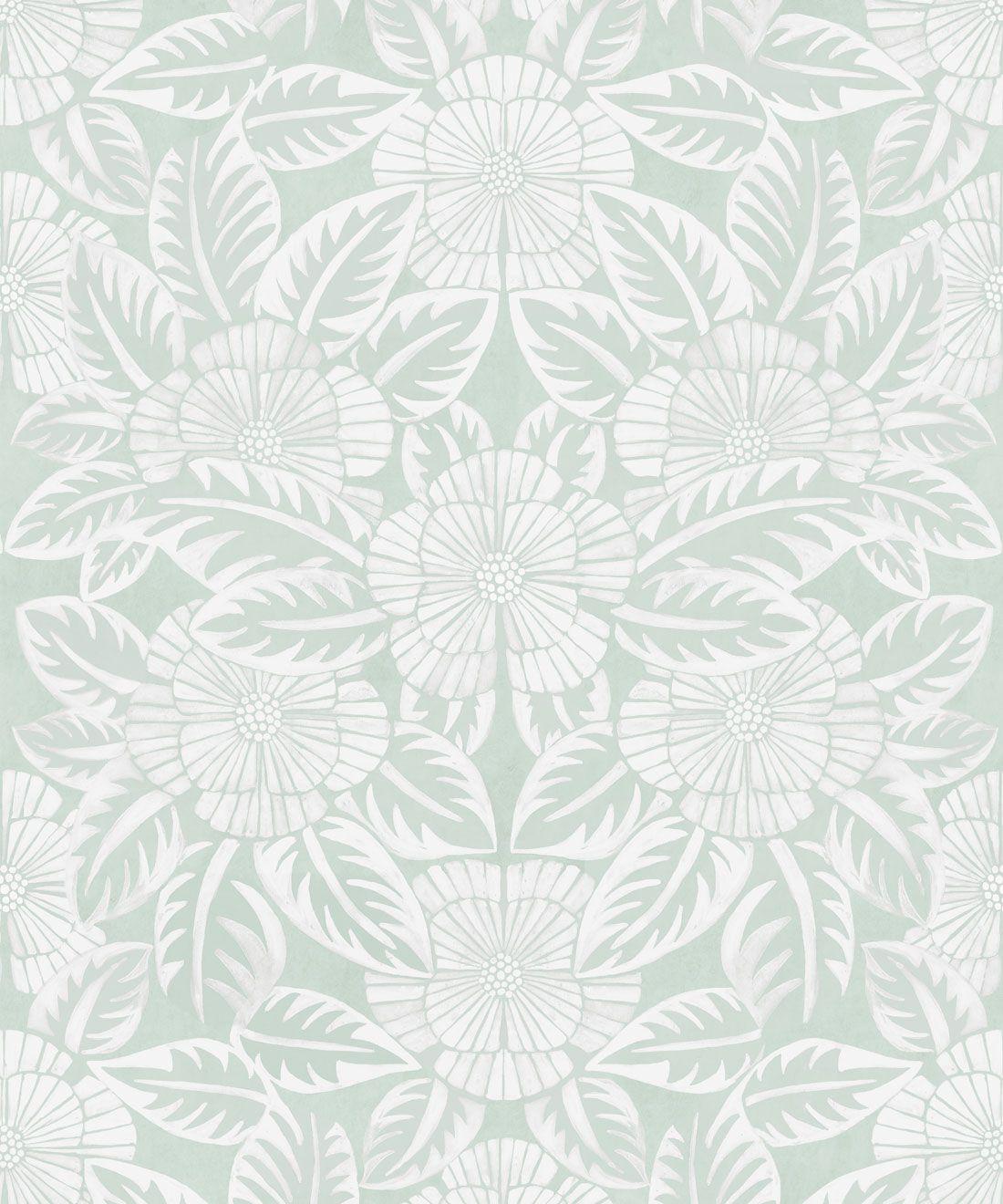 Calcutta Wallpaper • Flower and Leaf Motif Design • Ethnic Wallpaper • Aqua Wallpaper • Swatch