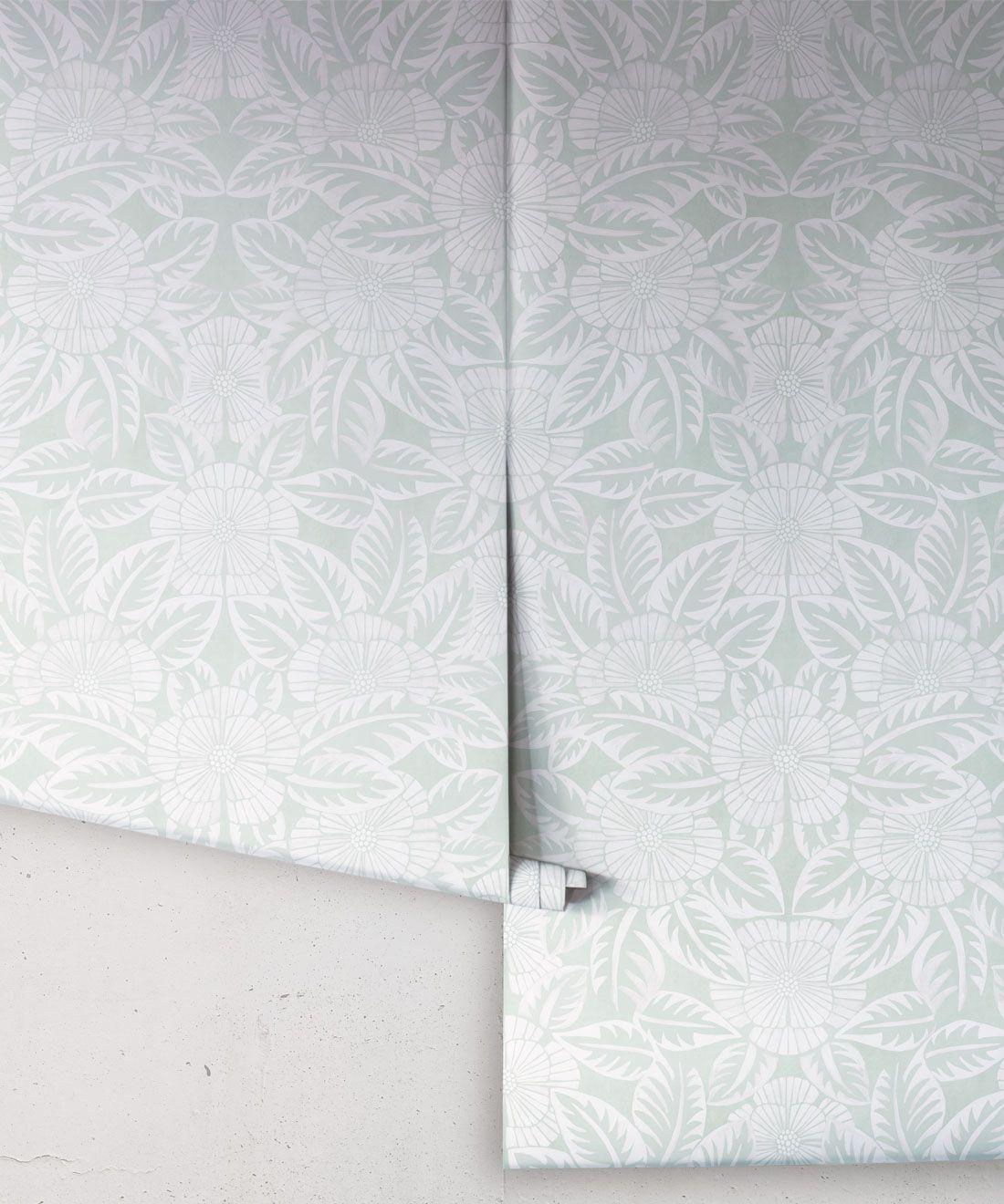 Calcutta Wallpaper • Flower and Leaf Motif Design • Ethnic Wallpaper • Aqua Wallpaper • Rolls