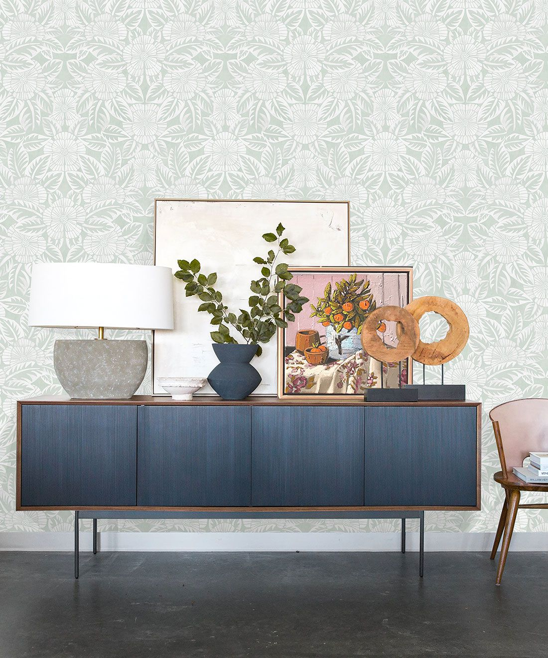 Calcutta Wallpaper • Flower and Leaf Motif Design • Ethnic Wallpaper • Aqua Wallpaper • Insitu