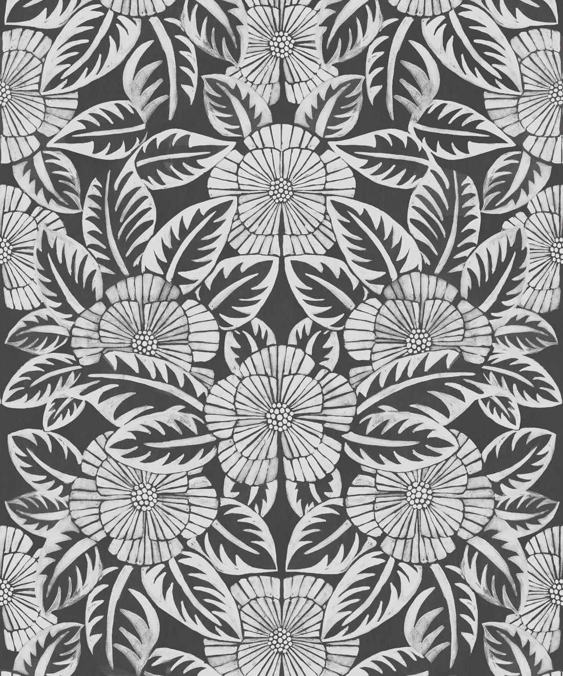 Calcutta Wallpaper • Flower and Leaf Motif Design • Ethnic Wallpaper • Charcoal Wallpaper • Swatch