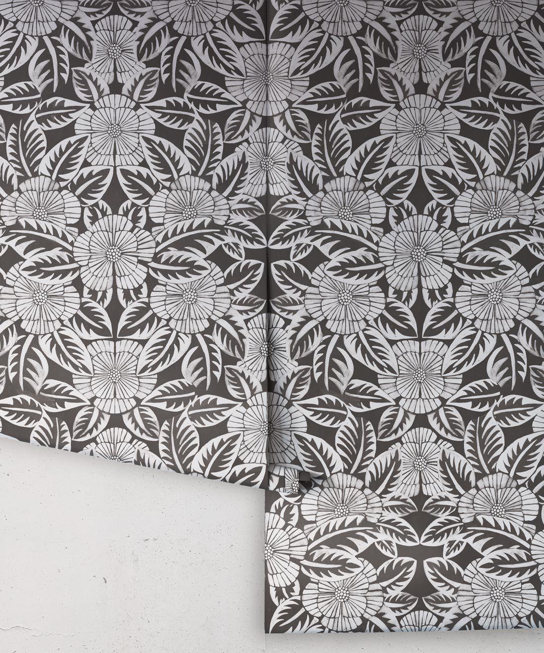 Calcutta Wallpaper • Flower and Leaf Motif Design • Ethnic Wallpaper • Charcoal Wallpaper • Rolls