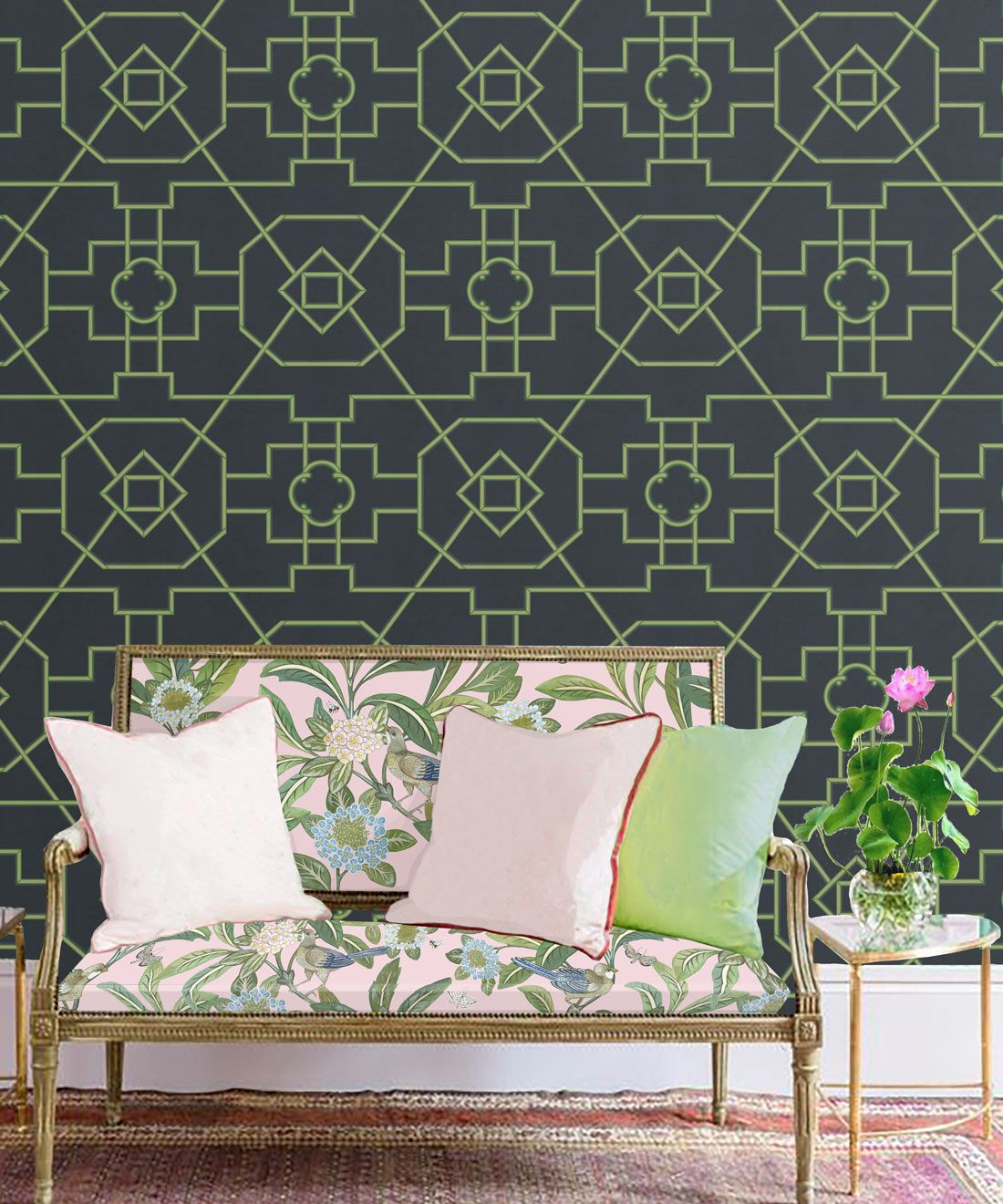 Trellis Wallpaper • Geometric Wallpaper • Charcoal Wallpaper • Insitu