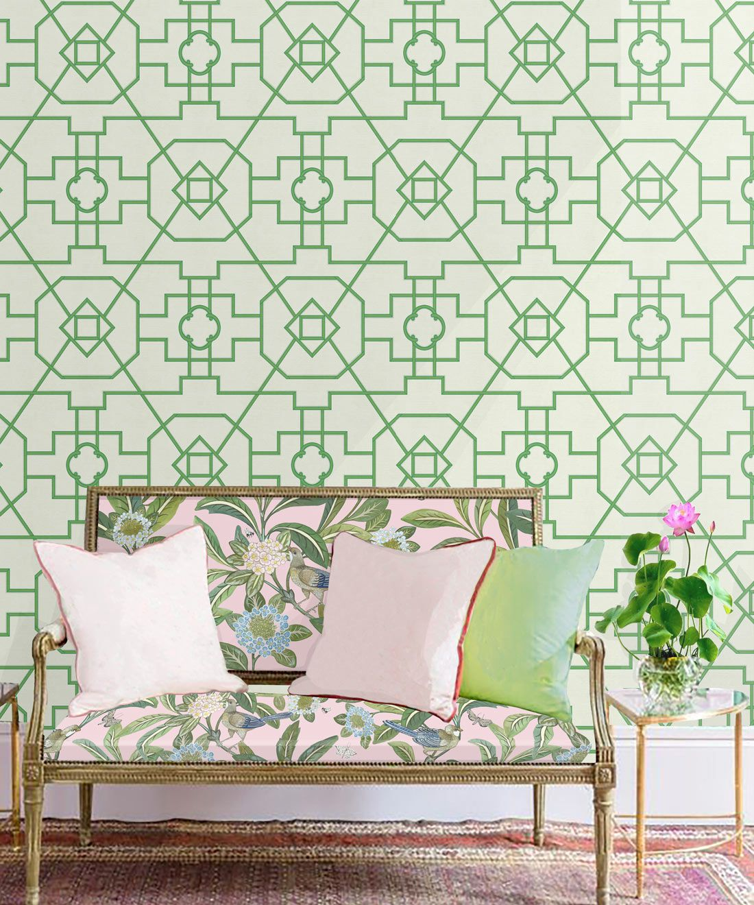Trellis Wallpaper • Geometric Wallpaper • Ivory Wallpaper • Insitu behind a sofa