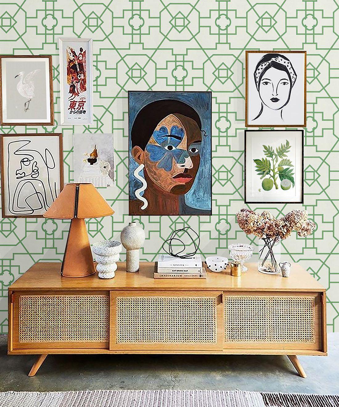 Trellis Wallpaper • Geometric Wallpaper • Ivory Wallpaper • Insitu behind a light wood cabinet