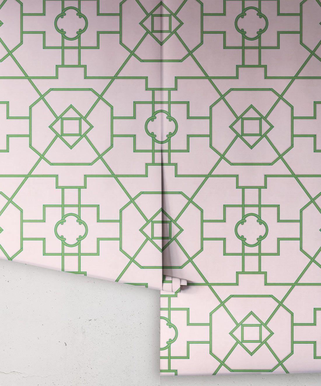 Trellis Wallpaper • Geometric Wallpaper • Pink Wallpaper • rolls