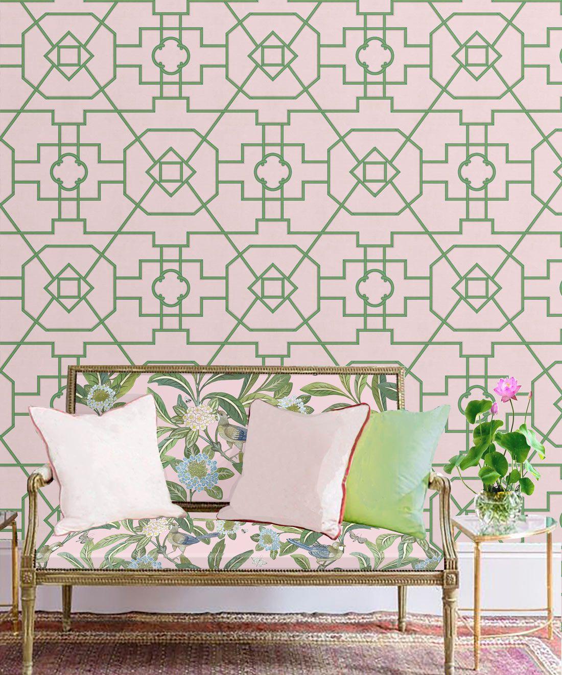 Trellis Wallpaper • Geometric Wallpaper • Pink Wallpaper • Insitu