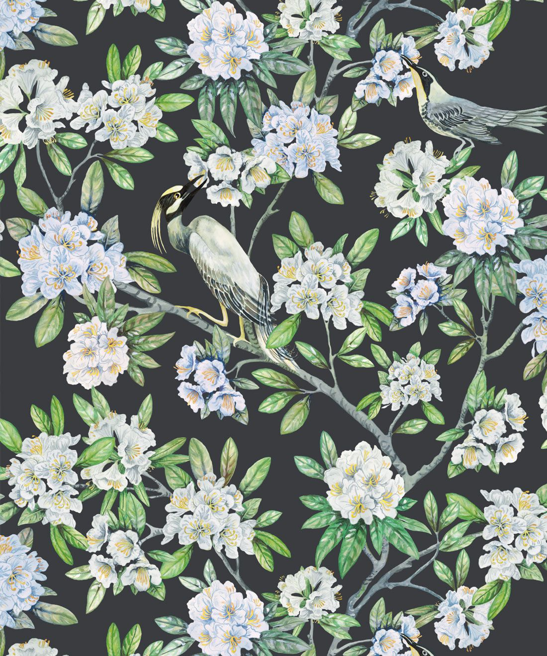 Victoria Wallpaper • Floral Wallpaper • Charcoal Wallpaper • Swatch