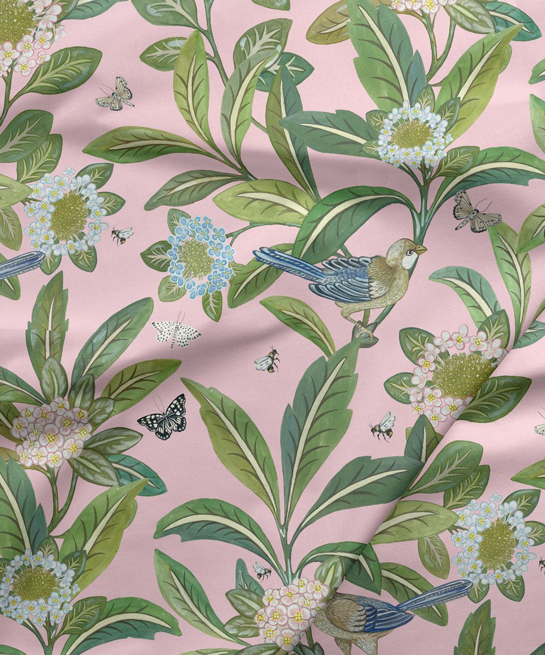 Summer Garden Fabric • Bethany Linz • Bird and Plant Fabric • Pink Upholstery Fabric