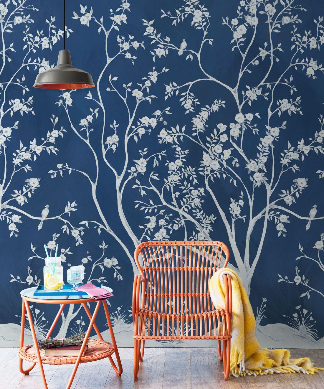 Blooming Joy • Chinoiserie Wallpaper by Danica Andler • Deep Blue Insitu
