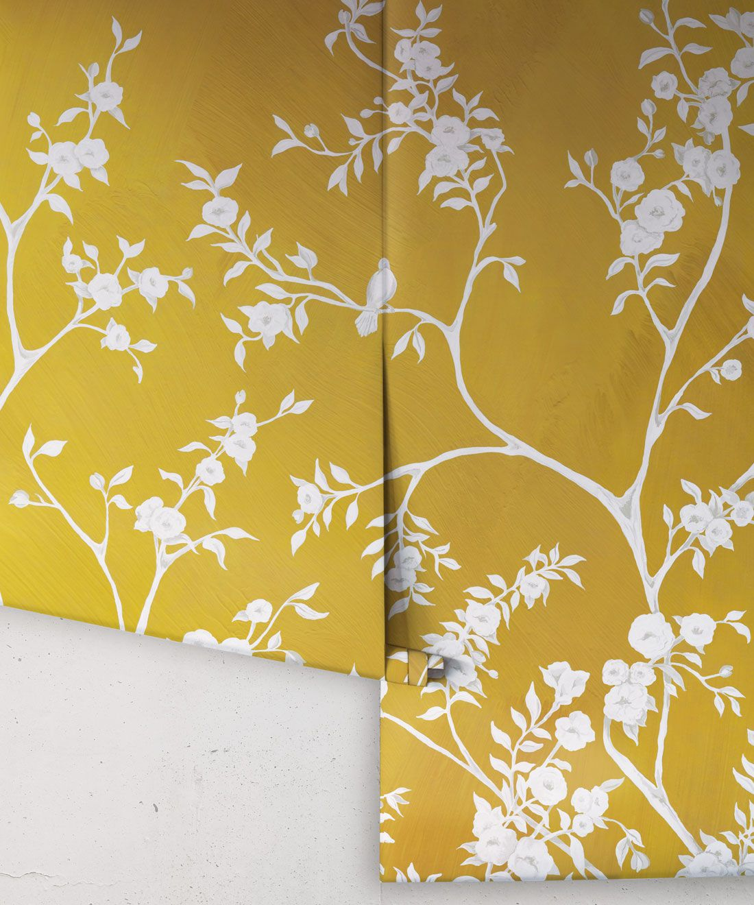 Blooming Joy • Chinoiserie Wallpaper by Danica Andler • Mustard Rolls