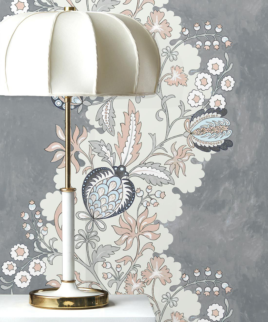 Pomegranate Wallpaper • Dusty Pink • Insitu with lamp